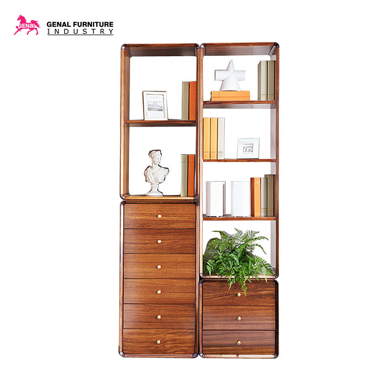 Carelli Brand Furniture Comprehensive Function Bookshelf/Display Cabinet In Beech Wood