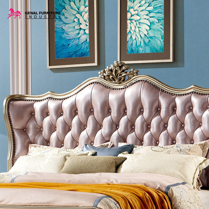 Restlay Luxury Classic Champagne Silver Solid Wood Frame With Pink Leather Covered Headboard And Footboard