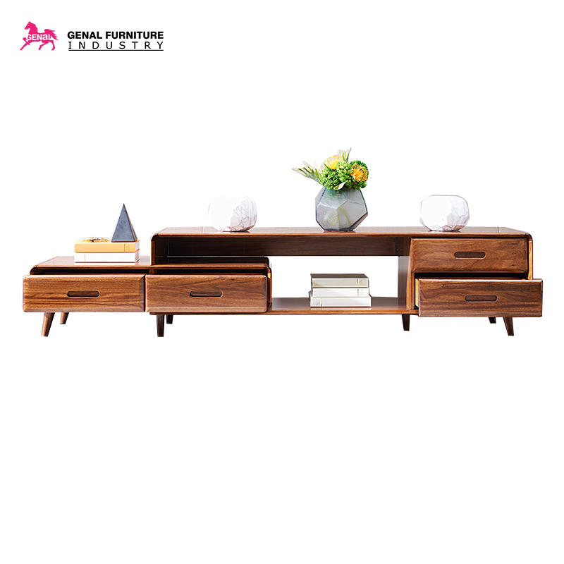 Retractable solid wood TV stand