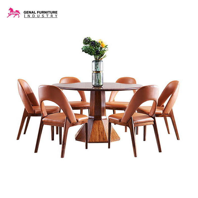 Kitchen Dining Table Set Solid Wood Table And Chair Set for 6 Person