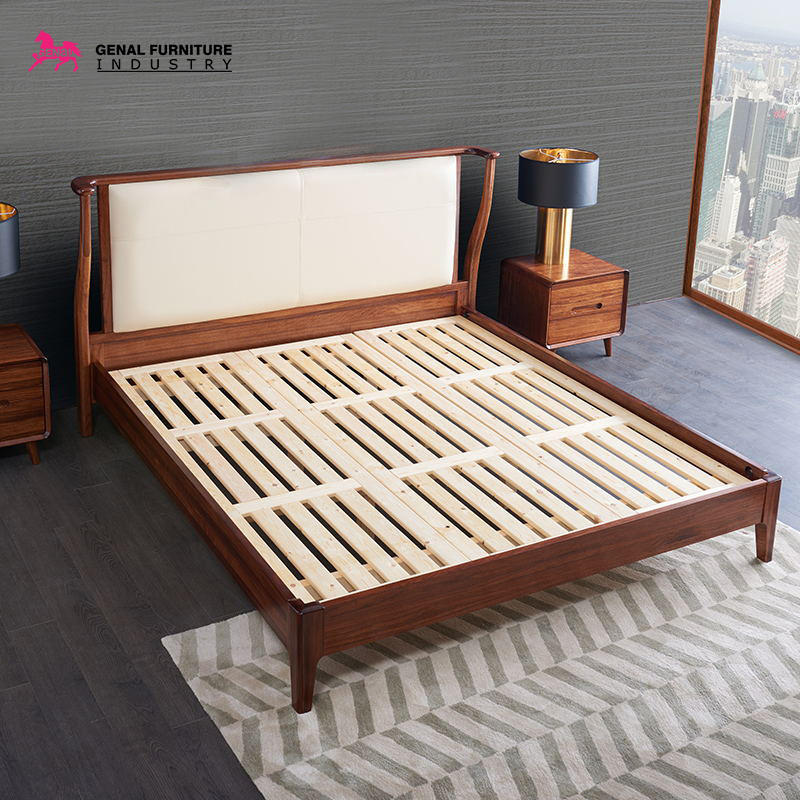 Restlay Classic Ebony Solid Wood Bed Frame With Upholstered High Headboard,King Size