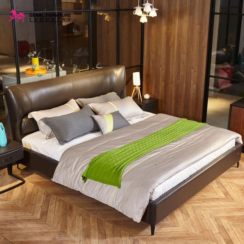 Restlay King Dark Brown Contemporary Upholstered Bed