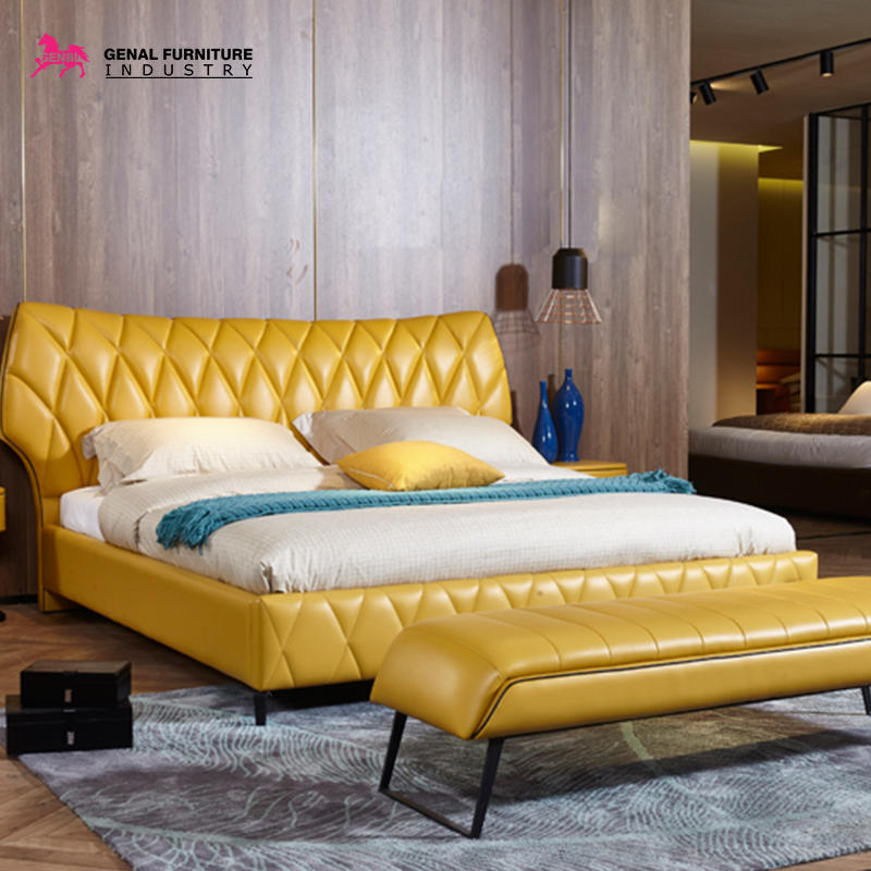 Restlay Modern Geometric Pattern Upholstered Faux Leather Platform Bed With Black Steel Leg(yellow)