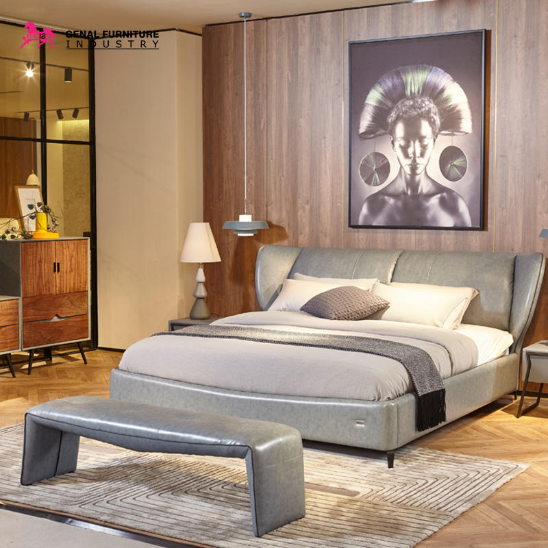 Restlay Contemporary Cool Grey Artificial Leather Bed Frame For Adults, king/queen