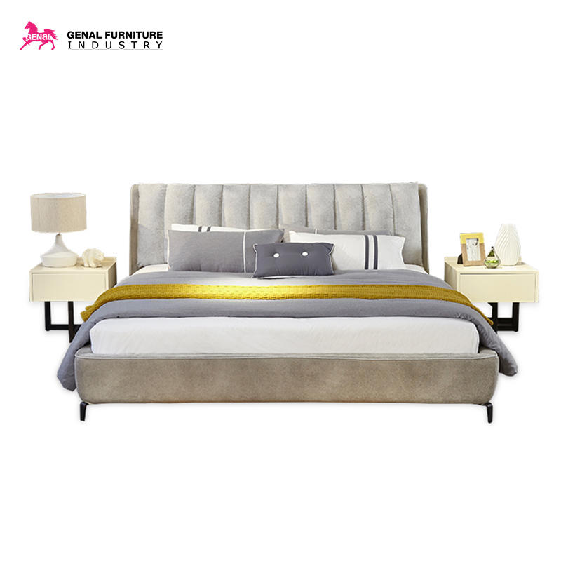 Restlay Bedroom Furniture Modern Cloth Light Grey Linen Upholstered Platform Bed With Slat