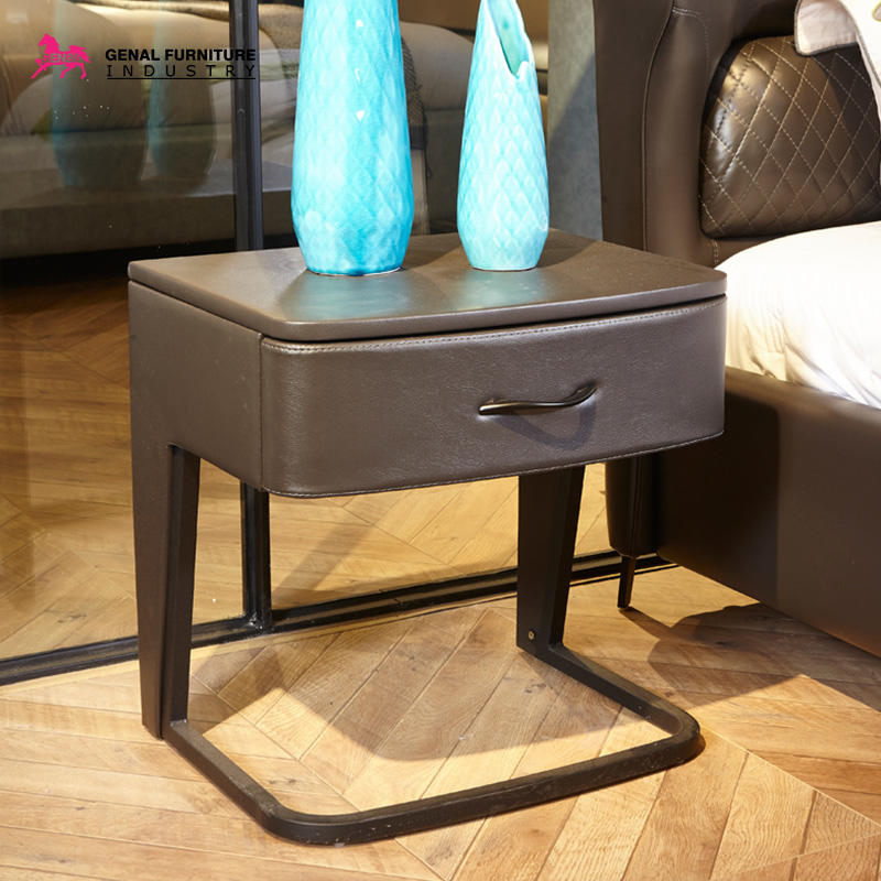 Nightstand End Ttable Yellow Faux Leather Cover With One Drawer, Black Metal Leg