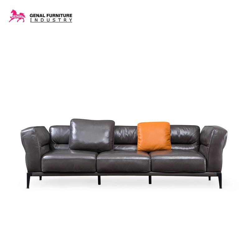 Carelli Italia Style 4-seater Long Size Sofa Glossy Cow Leather Living Room Set
