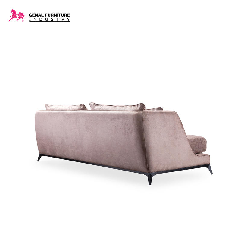 Carelli Italia Style Velvet Fabric Couch With Black Metal Leg