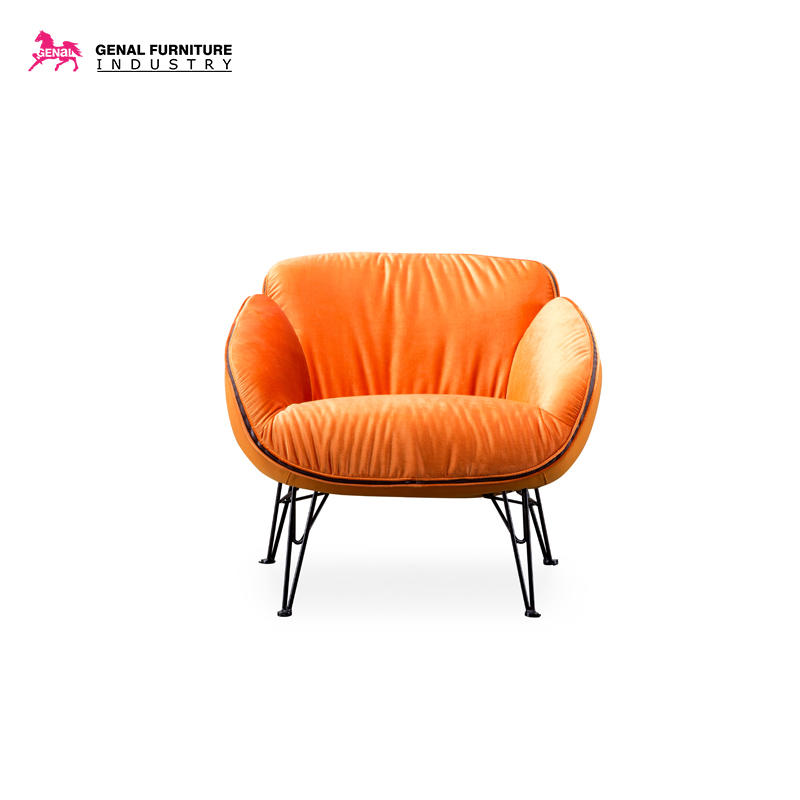 Carelli Ball Shape Orange Fabric Armchair With Black Metal Leg