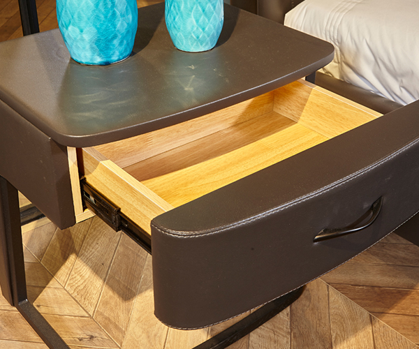 Genal one drawer modern nightstands leather cover-6