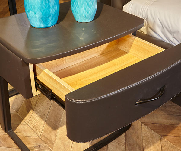 Genal one drawer modern nightstands leather cover