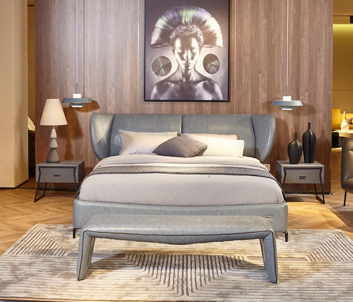 Genal Best leather double bed Suppliers