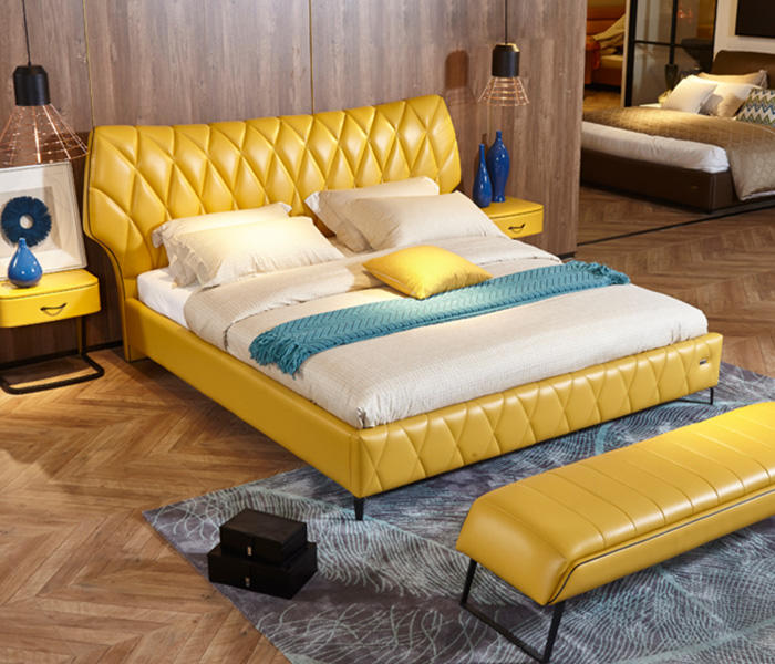 Genal Wholesale leather double bed for business-2