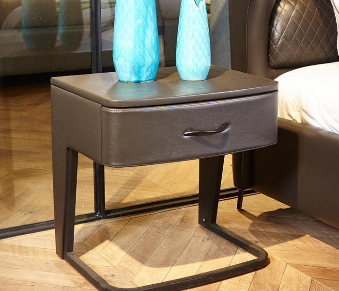 Genal one drawer modern nightstands leather cover-3