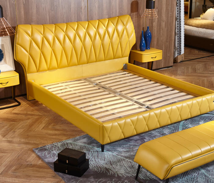 Genal Wholesale leather double bed for business-3