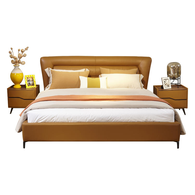 Restlay Modern Design Upholstered Faux Leather King/Queen Size Bed Frame With Solid Wood Slat